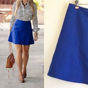 J.CREW Mini ALine Royal Blue Flared Skirt Plus 14